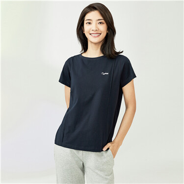 字母刺绣虾苏线弹力棉圆领短袖T恤