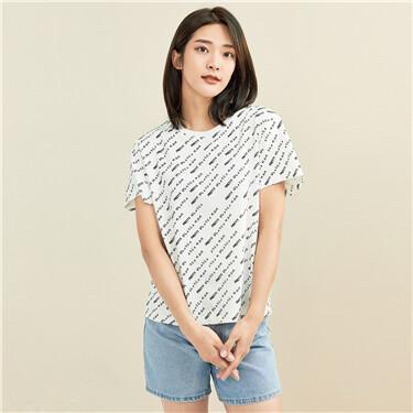 纯棉文字斜印花圆领短袖T恤