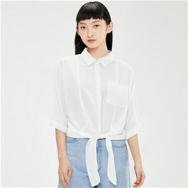 Ribbon hem loose 3/4 sleeves shirt