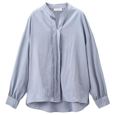 V领半开胸宽松长袖休闲衬衫