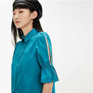 Tie-wrap on sleeves patch pocket shirt