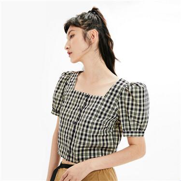 格子方领泡泡袖短袖休闲衬衫
