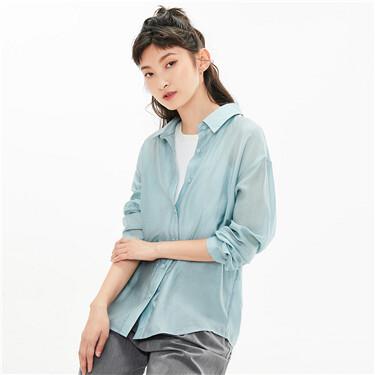 Slight see-through loose long-sleeve shirt