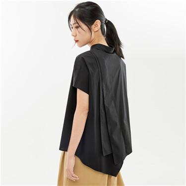 Asymmetrical dolman sleeves collage shirt