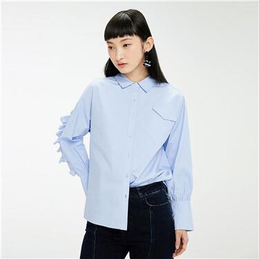 Ruffle edge dropped-shoulder shirt