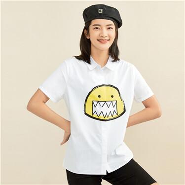 笑脸小怪兽印花纯棉短袖休闲衬衫