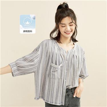 Stripe loose pocket 3/4 sleeves shrit