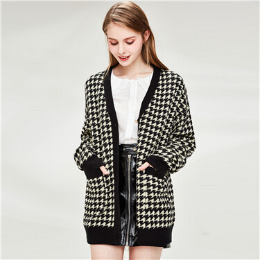 Houndstooth Pattern V-neck Mid-long Cardigan