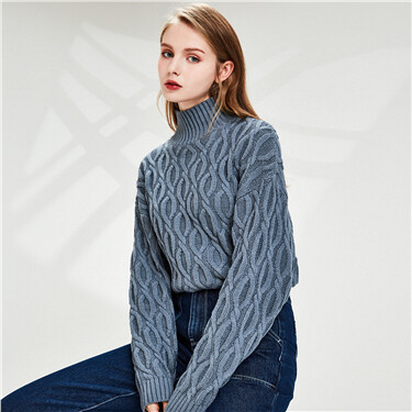 Thick turtleneck pullover cardigan