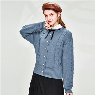 Cable knitting puttee crewneck cardigan