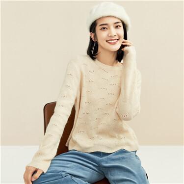 纯色镂空圆领套头针织衫
