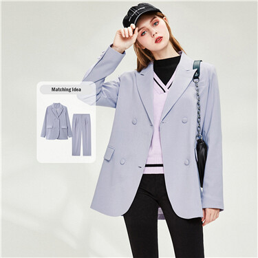 Closure collar double-breasted jacket