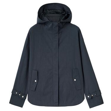 Loose dropped-shoulder hooded jacket