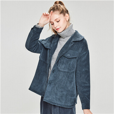 Corduroy patch pocket loose jacket