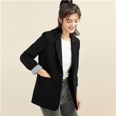 Notched lapel one button suit coat