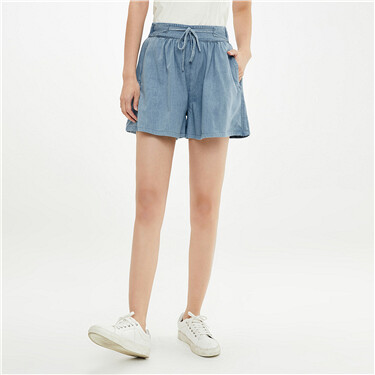 Bandage elastic waistband denim shorts