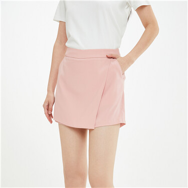 Solid mid-waist casual skirt-shorts