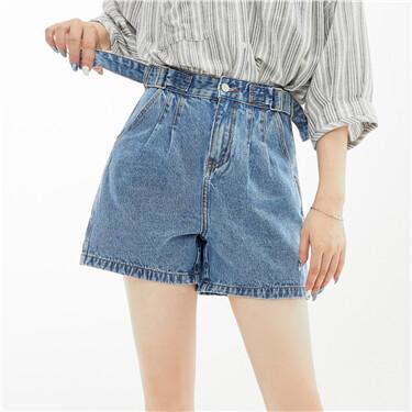 可调节腰带水洗牛仔短裤