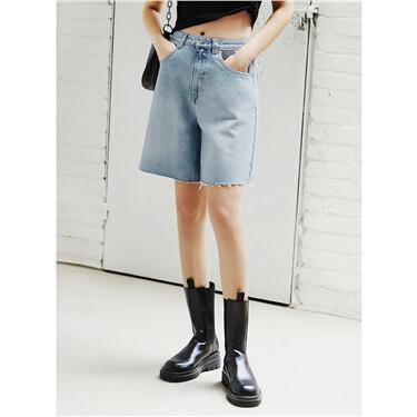 纯棉毛边裤脚直筒牛仔五分短裤