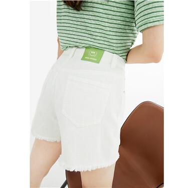 纯棉毛边裤脚五袋款白色牛仔短裤