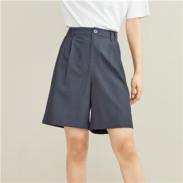 褶皱阔腿西装休闲短裤