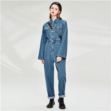 Turn-down collar cargo denim jumpsuit