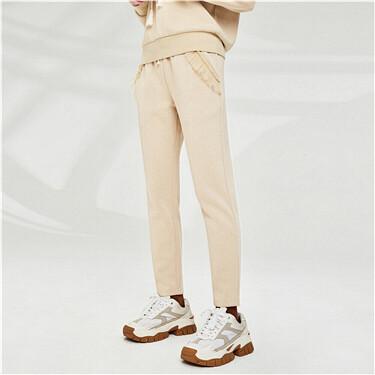 Lace Slant pockets Elastic waistband joggers