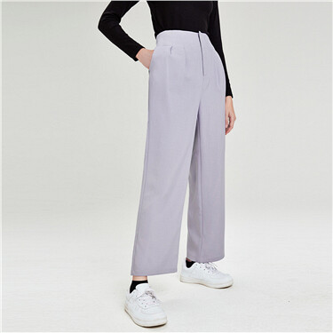 Solid wide-leg casual pants