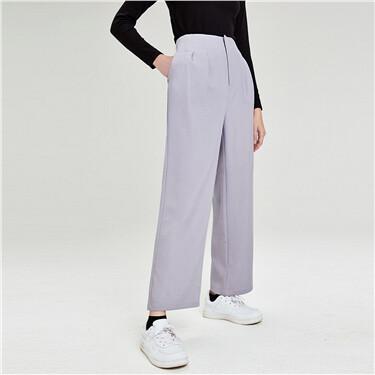 纯色阔腿休闲西装长裤