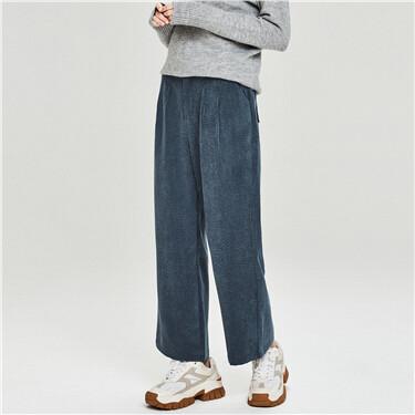 Retro corduroy wide-leg pants
