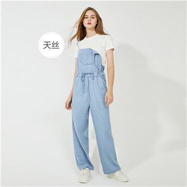 Wide-leg denim suspender jumpsuits