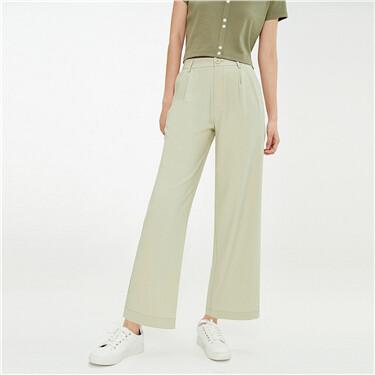 Plain pleated mid-rise wide-leg pants