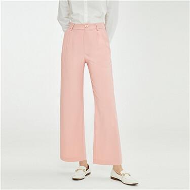 纯色打褶中腰阔腿西装休闲裤