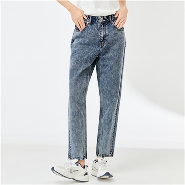 Snow-washed five-pocket cotton jeans