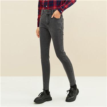 毛边裤脚修身灰黑牛仔长裤