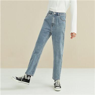洗水打褶裤脚锥形牛仔长裤