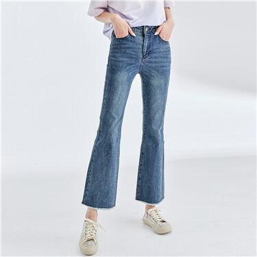 猫须磨白毛边裤脚牛仔喇叭裤