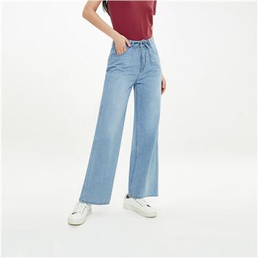 Moustache effect five-pocket jeans