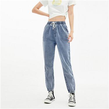 Elastic waistband drawstring denim jeans