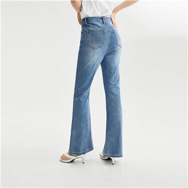 Five-pocket high-rise flared denim jeans