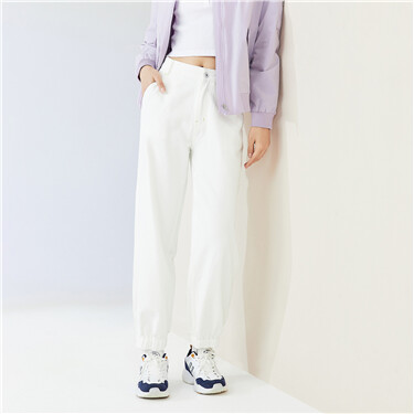 纯棉宽松阔腿束脚白色牛仔长裤