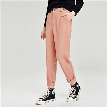 High-rise ankle-length denim pants