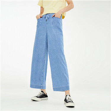 Elastic waistband drawstring denim pants