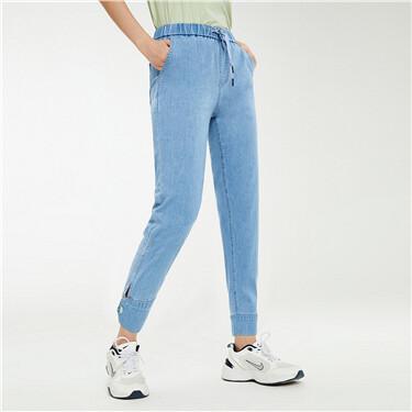 Button cuffs elastic waistband jeans