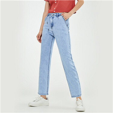 Bandage mid-rise straight jeans