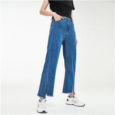 Irregular split cuffs wide-leg jeans