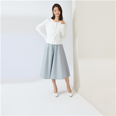 Elastic waistband a-line cropped pantskirt