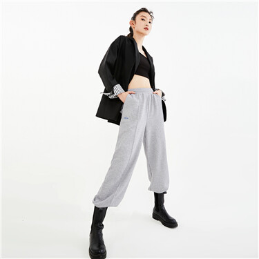 Letter embroidery jogger pants