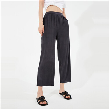 Twill wide-leg knitted pants
