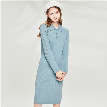 Side vents twill knitting Polo dress